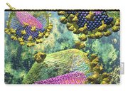 Hiv Three Sectioned Virions On Blue Carry-all Pouch