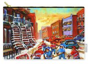 Hockey Art Kids Playing Street Hockey Montreal City Scene Carry-all Pouch