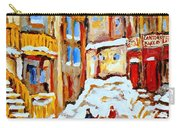 Hockey Art Montreal City Streets Boys Playing Hockey Carry-all Pouch