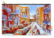 Hockey Art Streets Of Montreal Hockey Paintings Carry-all Pouch