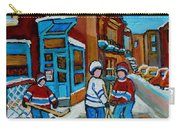 Hockey Game Corner Clark And Fairmount Wilenskys Paintings Carry-all Pouch by Carole Spandau