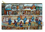 Hockey Rink Montreal Street Scene Carry-all Pouch by Carole Spandau