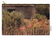 Hollyhocks And Thatched Roof Barn Carry-all Pouch
