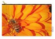 Honeybee On An Orange Zinnia Carry-all Pouch