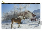 Horse On Maine Farm After Snow And Ice Storm Carry-all Pouch