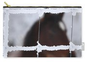 Horse Viewed Through Frost Covered Wire Fence Carry-all Pouch
