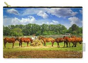 Horses At The Ranch Carry-all Pouch by Elena Elisseeva