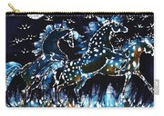 Horses Frolic On A Starlit Night Carry-all Pouch by Carol Law Conklin