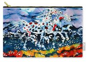 Horses Prance On Flower Field In Summer Moon Carry-all Pouch