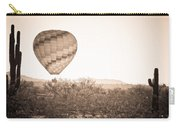 Hot Air Balloon On The Arizona Sonoran Desert In Bw  Carry-all Pouch
