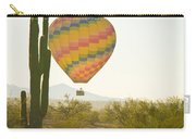 Hot Air Balloon Over The Arizona Desert With Giant Saguaro Cactu Carry-all Pouch