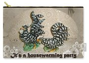 Housewarming Invitation - Black And White Chickens Figurines Carry-all Pouch