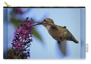 Hummingbird With Blue Border - Digital Painting Carry-all Pouch