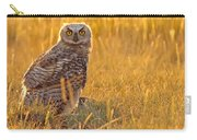 Immature Great Horned Owl Backlit Carry-all Pouch