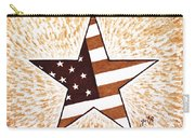 Independence Day Star Usa Flag Coffee Painting Carry-all Pouch by Georgeta  Blanaru