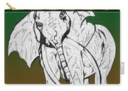 Inked Elephant In Green And Brown Carry-all Pouch