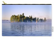 Island In Lake With Morning Fog Carry-all Pouch