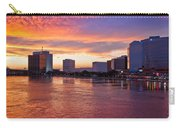 Jacksonville Skyline At Dusk Carry-all Pouch by Debra and Dave Vanderlaan