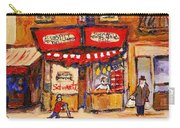 Jewish Montreal Vintage City Scenes Schwartzs Original Hebrew Deli Carry-all Pouch