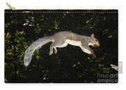 Jumping Gray Squirrel Carry-all Pouch by Ted Kinsman