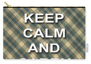 Keep Calm And Carry On Poster Print Green Brown Plaid Background Carry-all Pouch