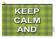 Keep Calm And Carry On Poster Print Green Plaid Background Carry-all Pouch