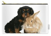 King Charles Spaniel And Rabbit Carry-all Pouch