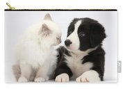 Kitten And Border Collie Pup Carry-all Pouch