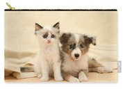Kitten And Pup Carry-all Pouch by Jane Burton