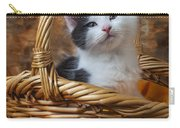 Kitten In Basket With Orange Yarn Carry-all Pouch