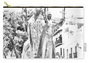 La Rogativa Sculpture Old San Juan Puerto Rico Black And White Line Art Carry-all Pouch