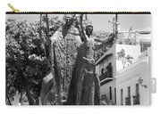 La Rogativa Sculpture Old San Juan Puerto Rico Black And White Carry-all Pouch by Shawn O'Brien