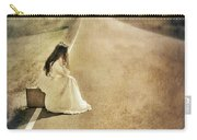 Lady In Gown Sitting By Road On Suitcase Carry-all Pouch