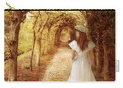 Lady Walking In Tree Tunnel In Garden Carry-all Pouch