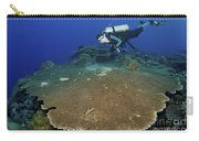 Large Staghorn Coral And Scuba Diver Carry-all Pouch