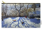 Large Tree And Tobogganers Carry-all Pouch by Andrew Macara