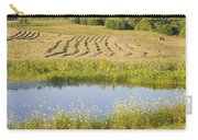 Late Summer Hay Being Harvested In Maine Canvas Poster Print Carry-all Pouch