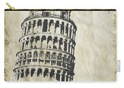 Leaning Tower Of Pisa On Old Paper Carry-all Pouch by Setsiri Silapasuwanchai
