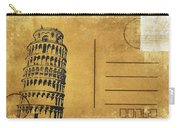Leaning Tower Of Pisa Postcard Carry-all Pouch by Setsiri Silapasuwanchai