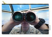 Lieutenant Uses Binoculars To Scan Carry-all Pouch by Stocktrek Images