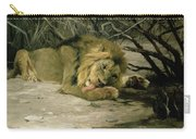 Lion Reclining In A Landscape Carry-all Pouch