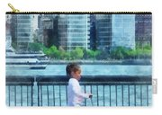 Little Girl On Scooter By Manhattan Skyline Carry-all Pouch
