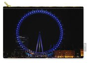 London Eye All Done Up In Blue Light In The Night With A Small Reflection In The Thames Carry-all Pouch