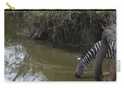 Lone Zebra At The Drinking Hole Carry-all Pouch