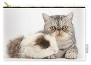 Long-haired Guinea Pig And Silver Tabby Carry-all Pouch