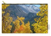 Long's Peak And The Keyboard Of The Winds Amidst Aspen Gold Carry-all Pouch by Margaret Bobb