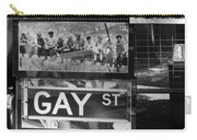 Lunch Time Between Fashion Ave And Gay St In Black And White Carry-all Pouch by Rob Hans