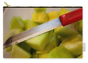 Macro Photo Of Knife Over Bowl Of Cut Musk Melon Carry-all Pouch