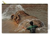 Bathing An Elephant Laos Carry-all Pouch