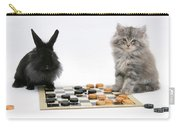 Maine Coon Kitten And Black Rabbit Carry-all Pouch